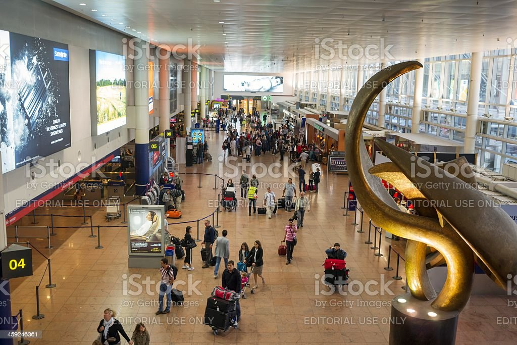 Departure hall in Brussels Airport,Belgium stock photo