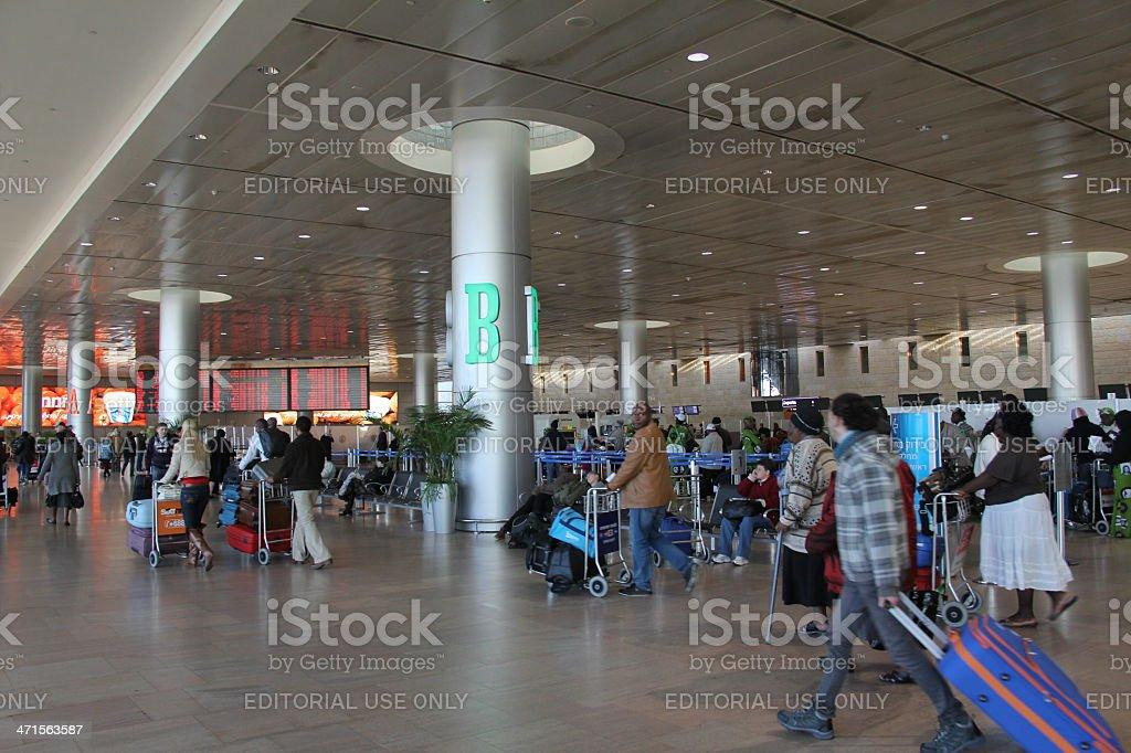 Departure Hall of  Ben Gurion Airport stock photo