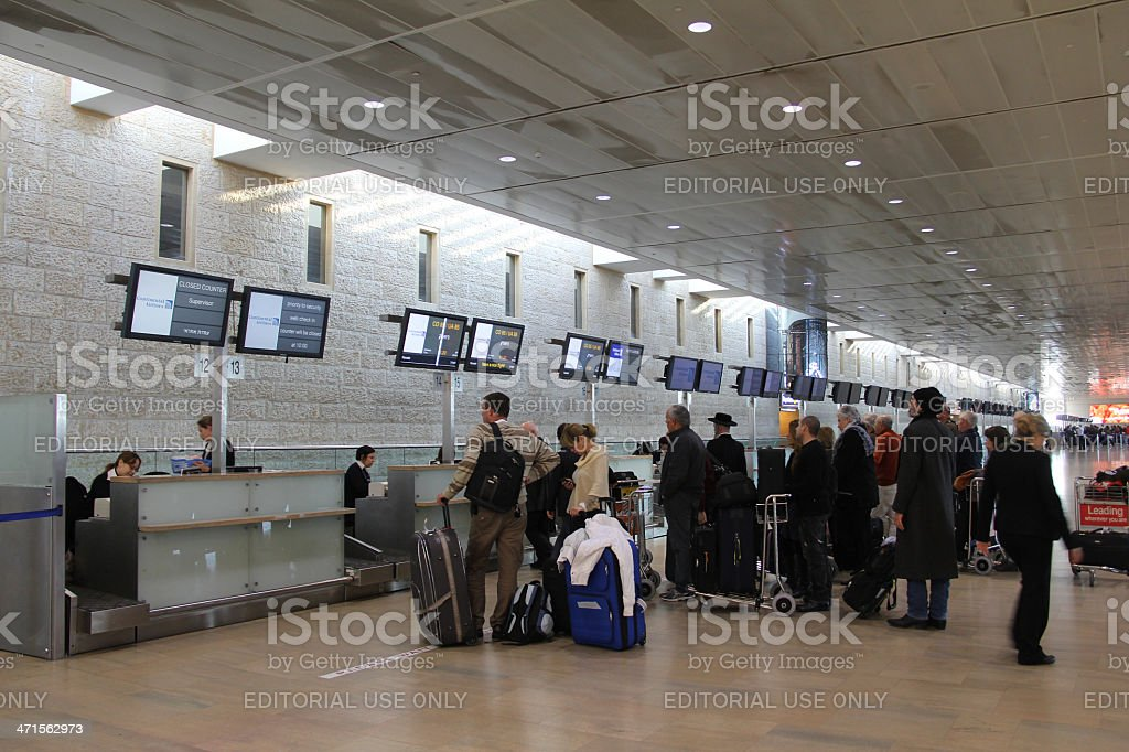 Departure Hall. Registration of tickets stock photo