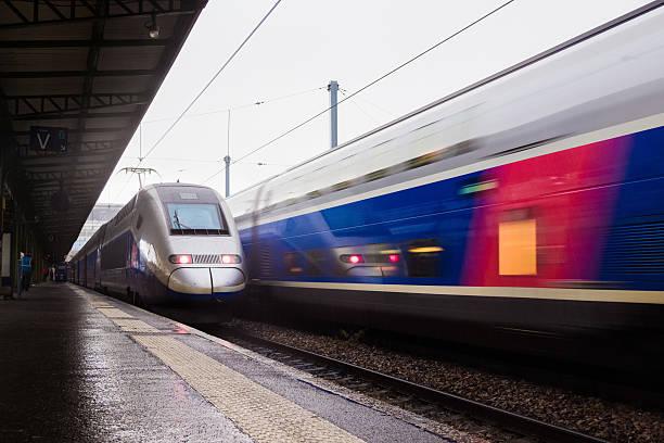 Departure of TGV train stock photo