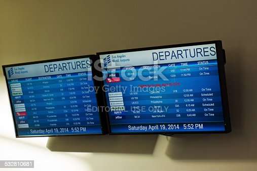 Los Angeles, USA - April 19, 2014: TV departure screens at LA International Airport (LAX) for Saturday,April 19 2014.