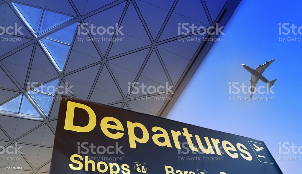 Departure sign in airport stock photo