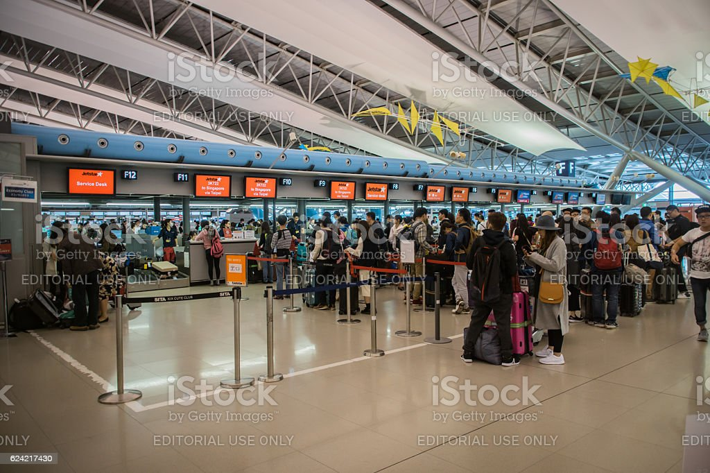 Departure terminal at Kansai International Airport (KIX), Osaka, Japan. stock photo