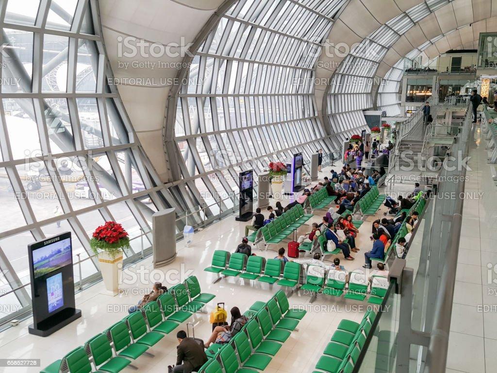 departure terminal at Suvarnabhumi Airport stock photo