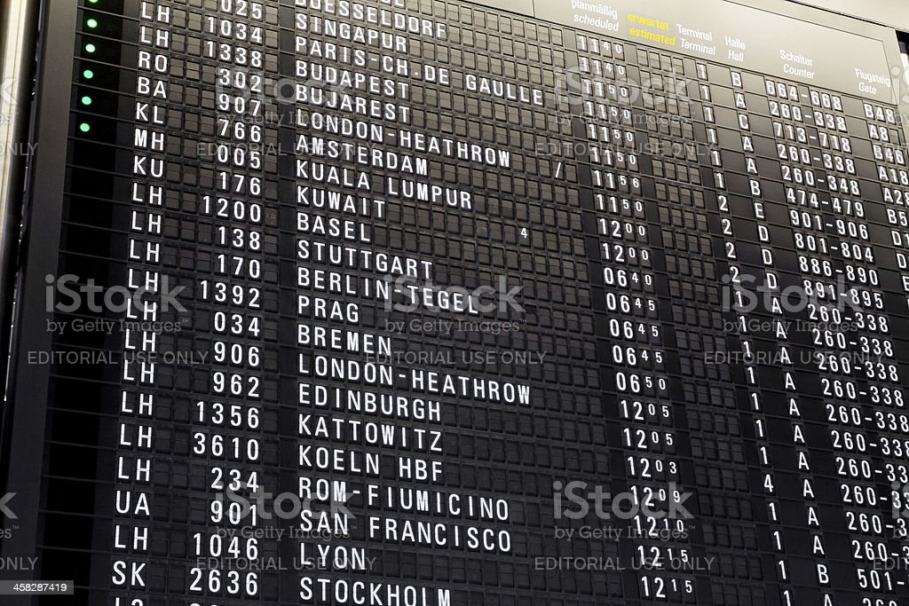 Departure timetable royalty-free stock photo