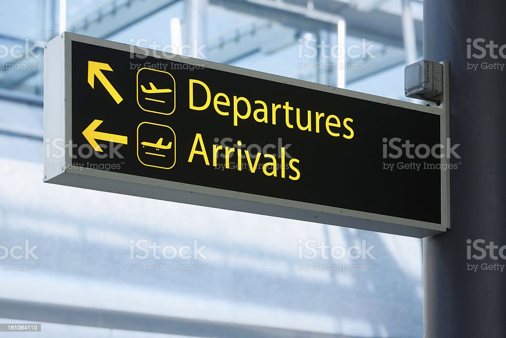 Departures and arrivals stock photo