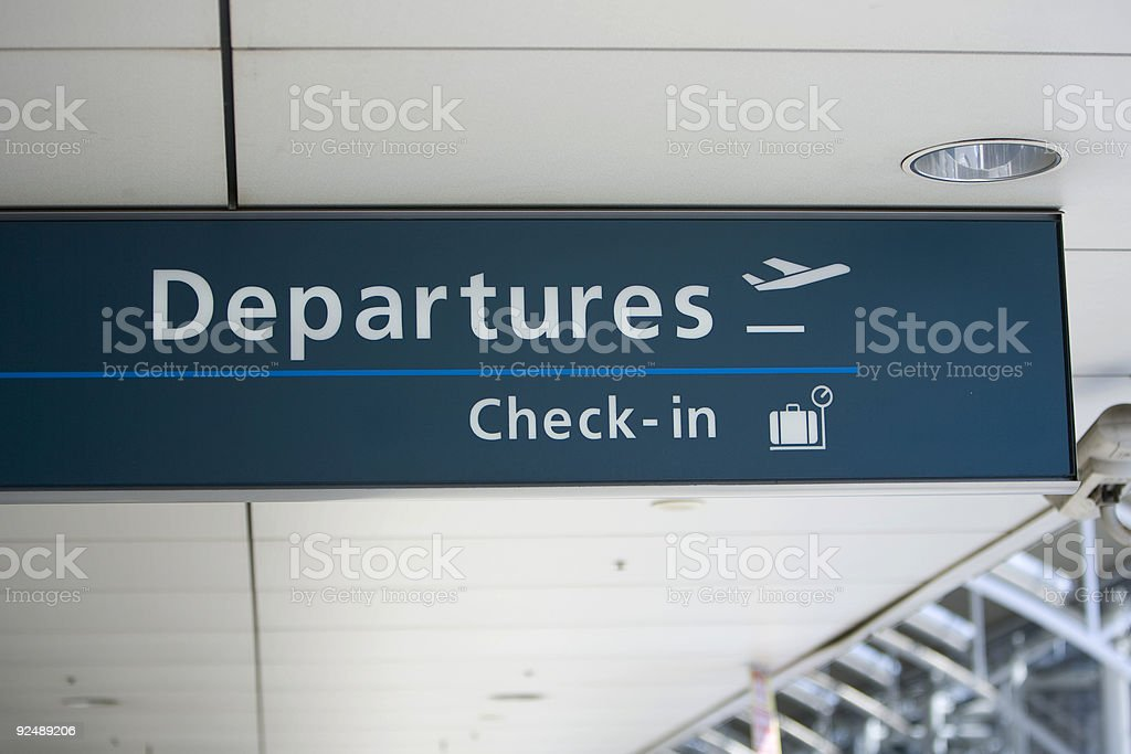 Departures and check in sign royalty-free stock photo