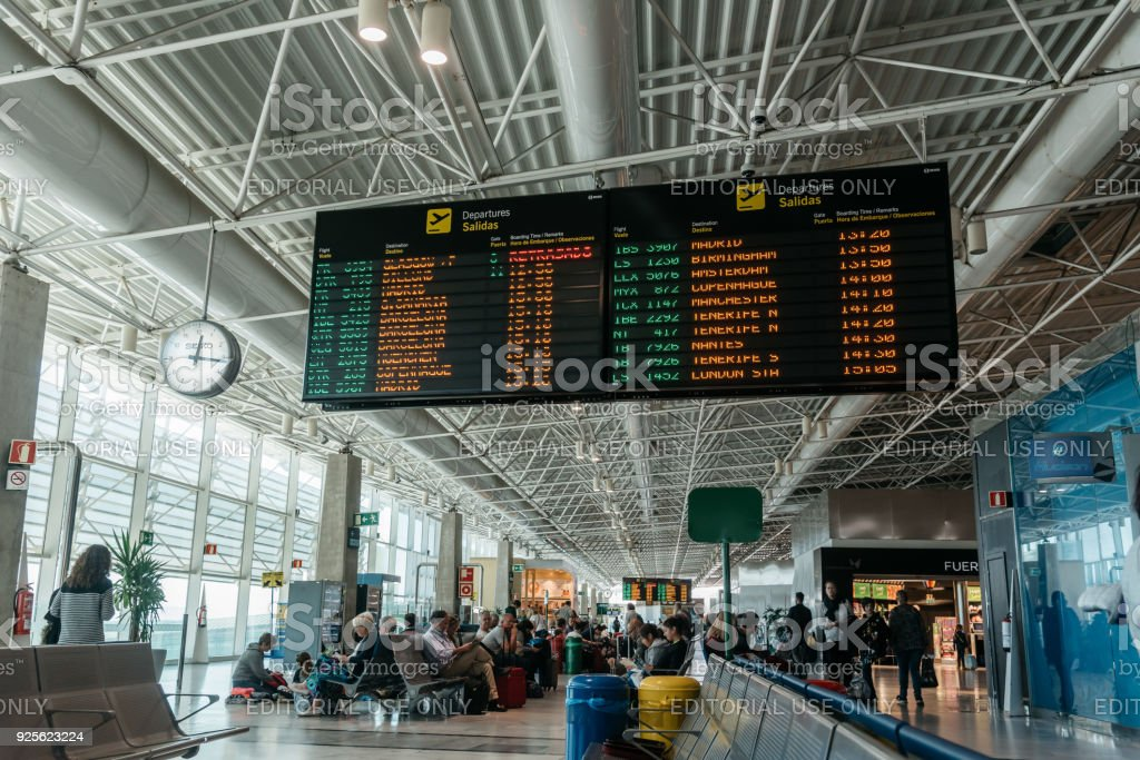 Departures board at Fuerteventura Airport stock photo