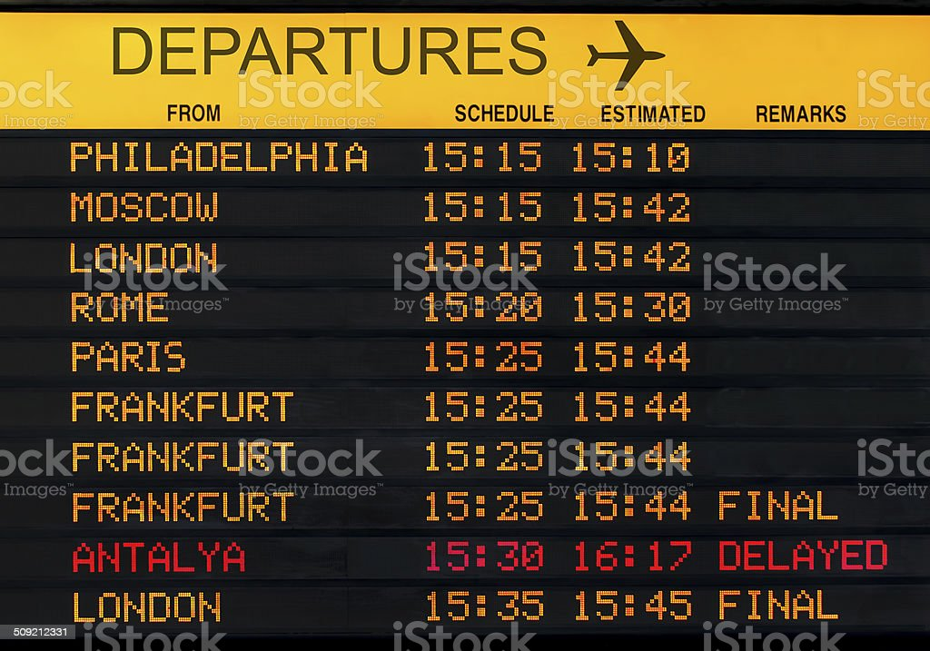 departures board stock photo