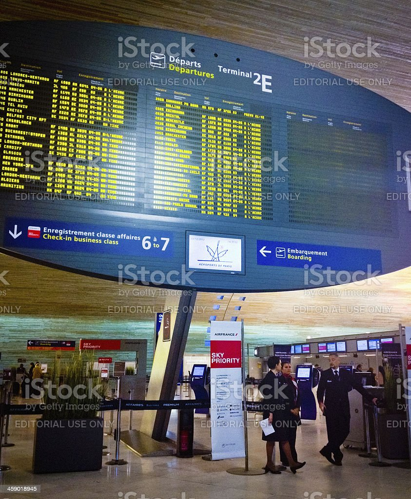 Departures Information Board at Roissy Charles De Gaulles Airpor royalty-free stock photo