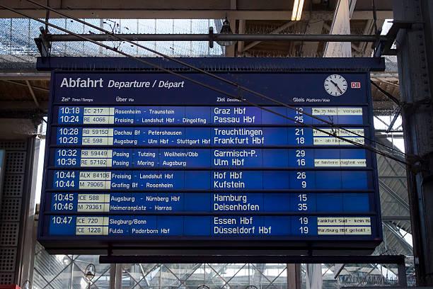 depature board munich main station - munich train station bildbanksfoton och bilder