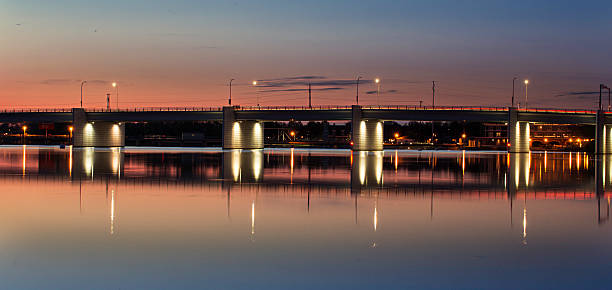 depere bridge crossing the fox river near green bay - green bay wisconsin stock photos and pictures