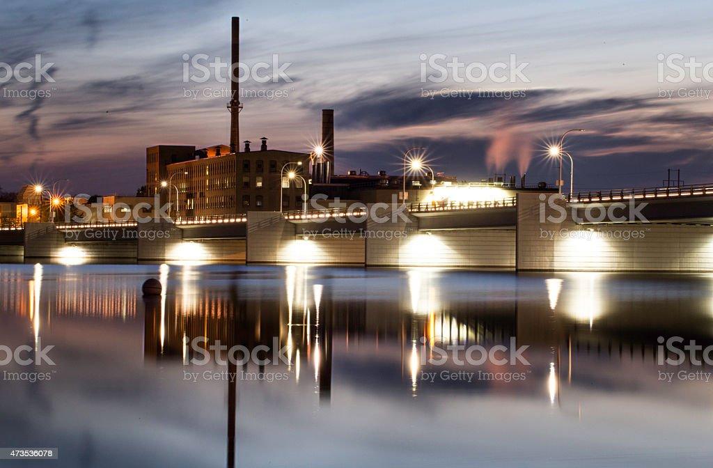DePere Bridge skyline cityscape crossing the fox river stock photo