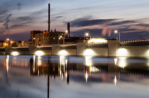 depere bridge skyline cityscape crossing the fox river - green bay wisconsin stock photos and pictures