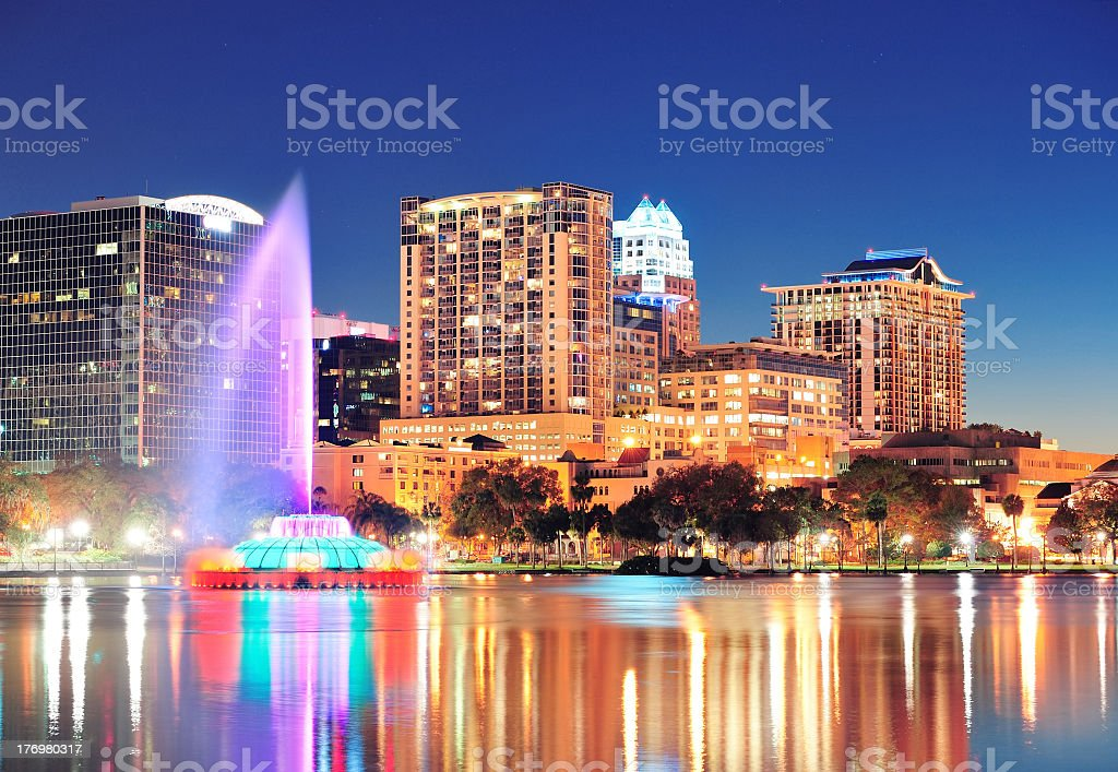 A depiction of Orlando Florida at nighttime lights stock photo