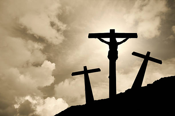Depiction of the crucifixion of Jesus Christ stock photo