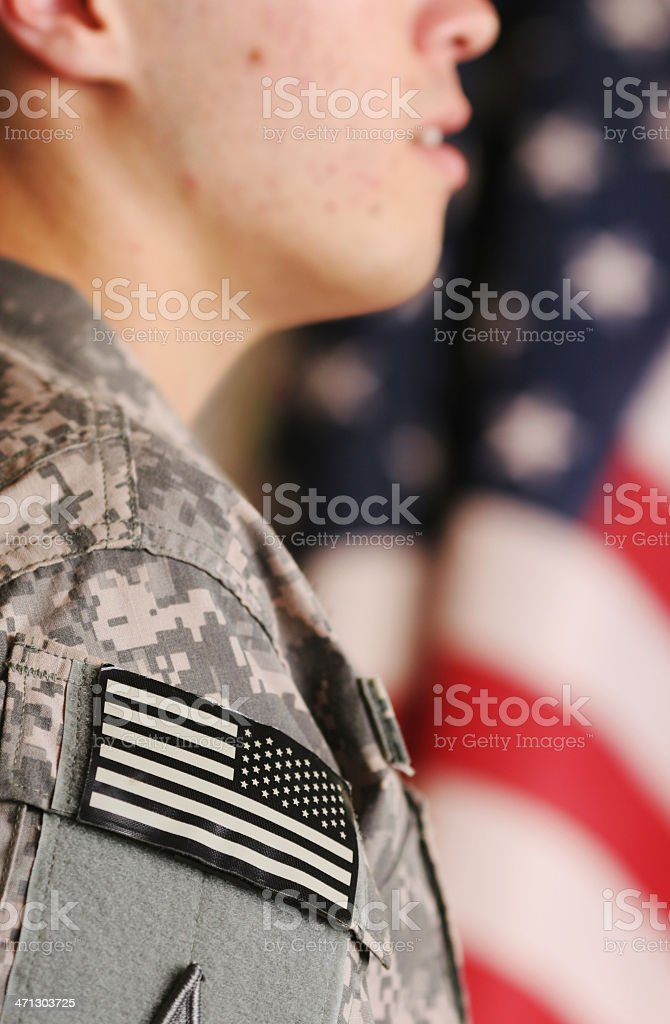 Deployed American soldier stock photo