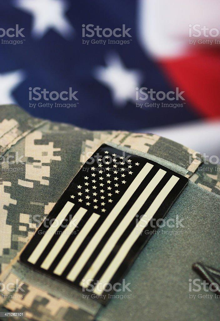 Deployed American soldier uniform stock photo