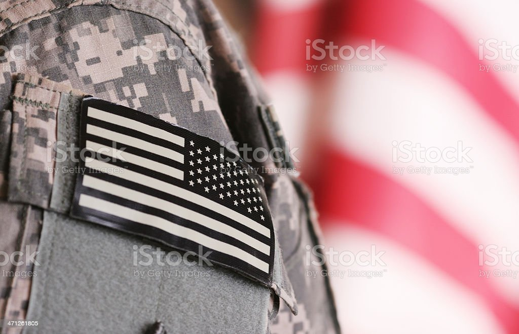 Deployed soldier stock photo