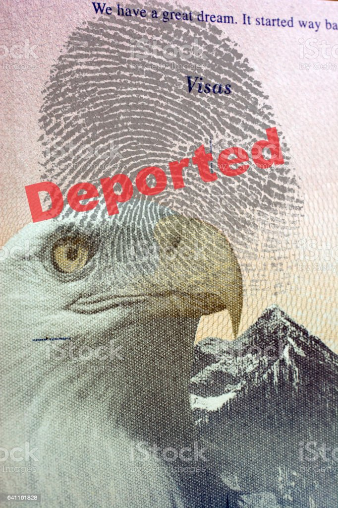 Deported and finger print on USA passport  visa page stock photo