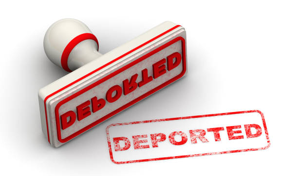 Deported. Seal and imprint Red seal and red print DEPORTED on white surface. Isolated. 3D Illustration deportation stock pictures, royalty-free photos & images