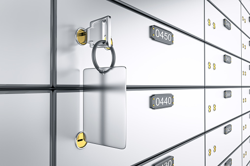 3D deposit boxes with key. Safe lockers