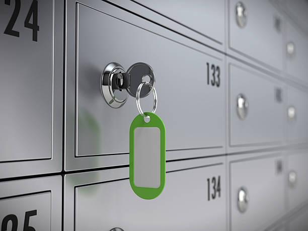 Anzahlung safe der bank und Schlüssel – Foto