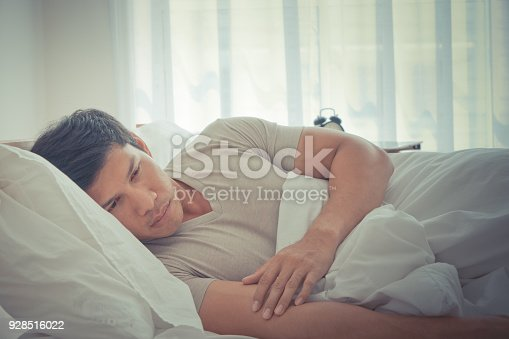 istock Depress man is lying late morning on bed 928516022