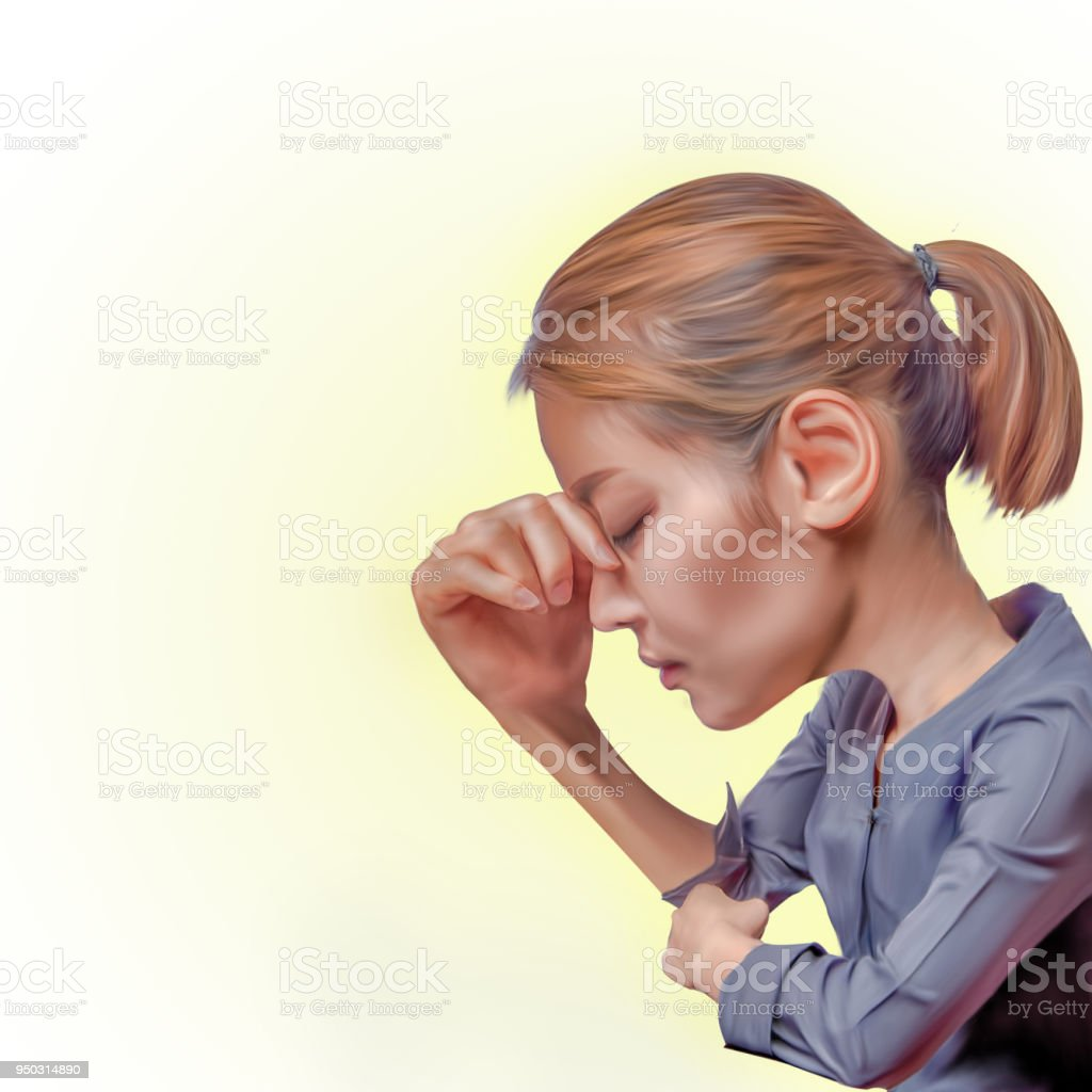depress woman on clear background, right hand holding on forehead as headache, asian woman serious mood, digital cartoon painting from picture  and 3D illustration stock photo