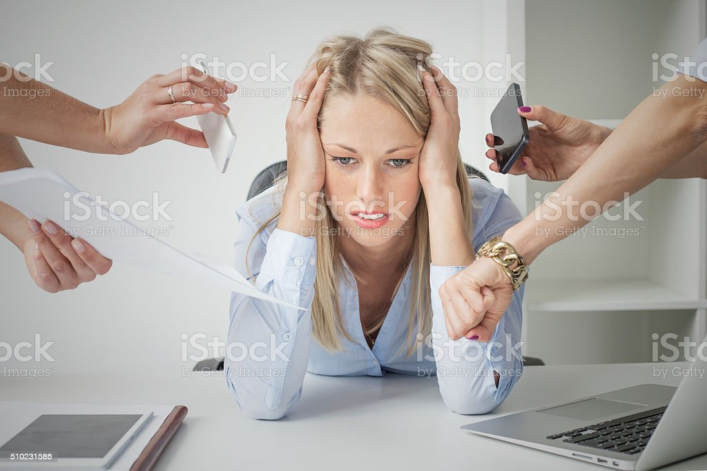 Depressed business woman stock photo