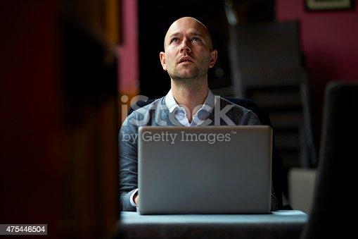 hopeless businessman infant of computer