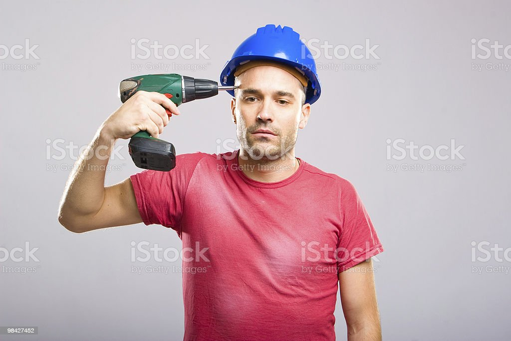 Depressed Construction Worker royalty-free stock photo