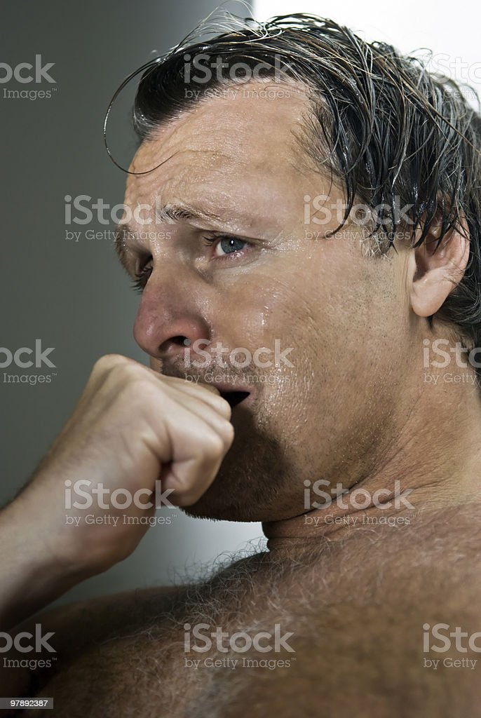 Depressed forties man. stock photo