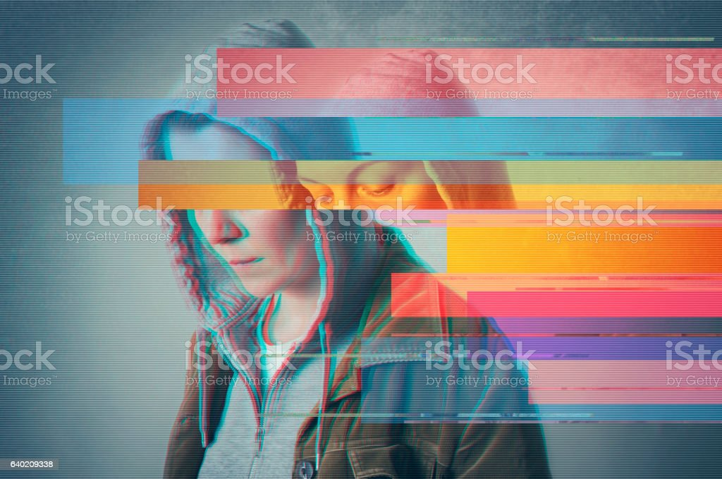 Depressed lonely person. Glitched style photo. stock photo