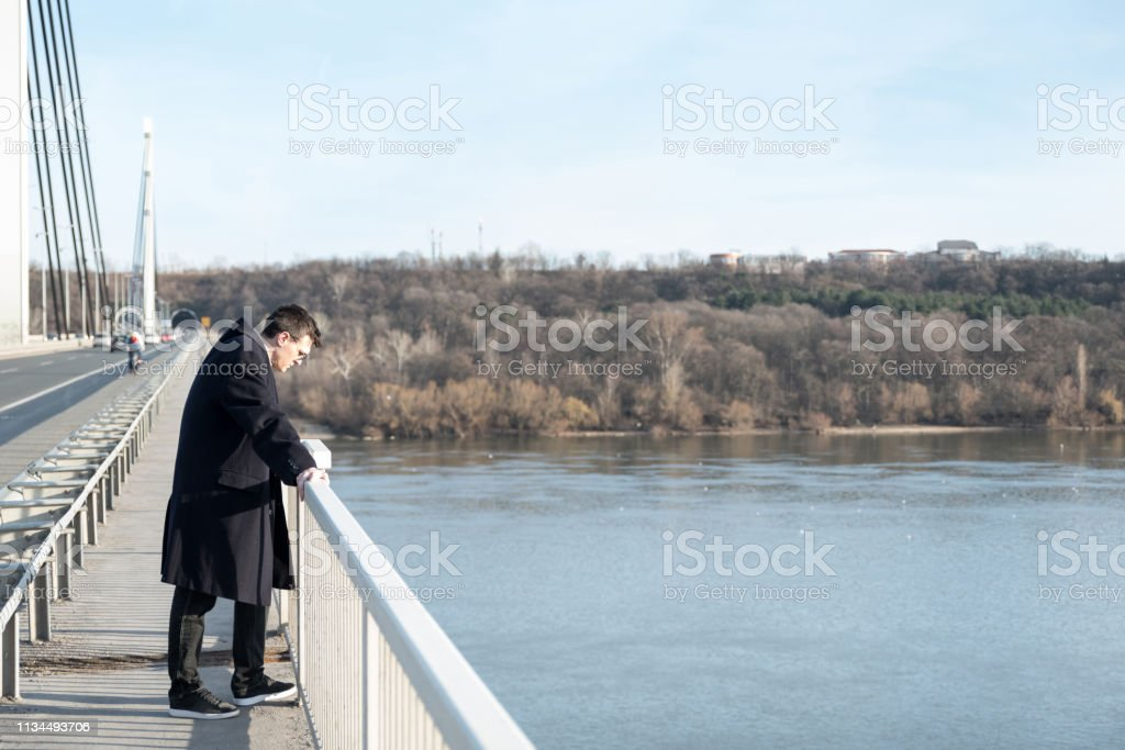 Depressed man, Lonely depressed and anxious man standing on the...