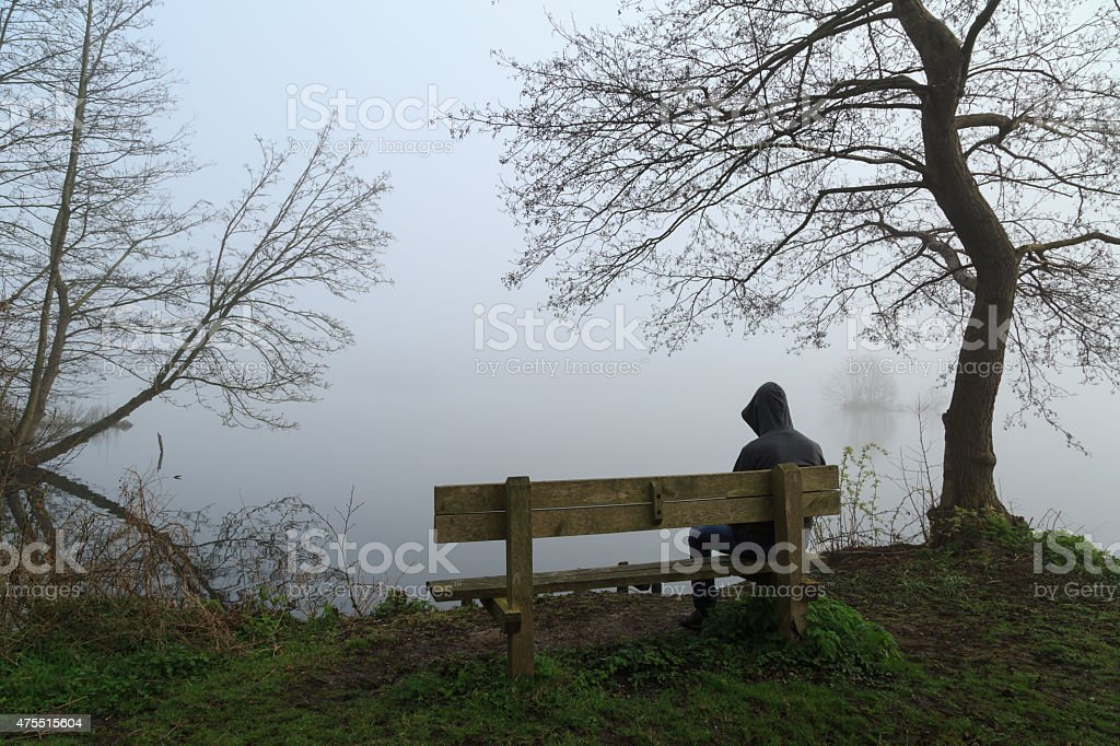 Depressed man stock photo
