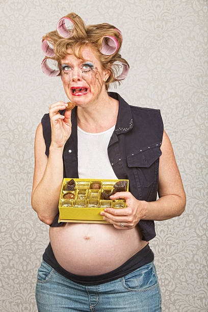 depressed pregnant woman - makeup for pregnant women stock photos and pictures