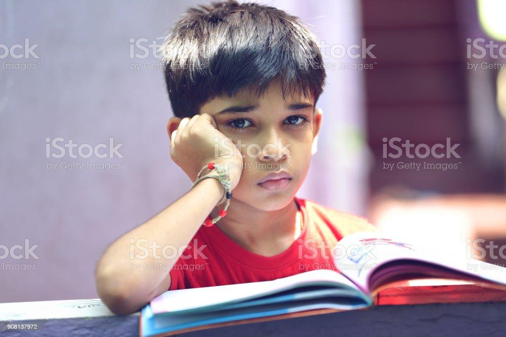 Depressed School boy Posing to Camera стоковое фото