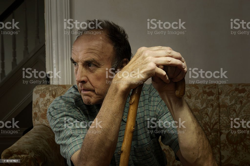 Depressed senior at home royalty-free stock photo