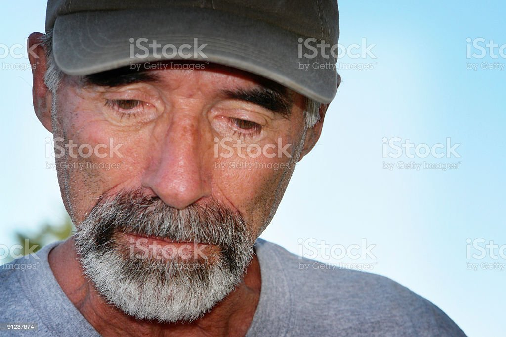 depressed senior man close up portrait royalty-free stock photo