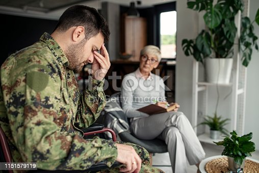 istock Depressed soldier and his psychotherapist during a session 1151579119