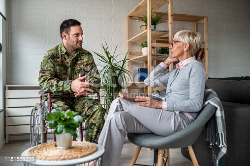 istock Depressed soldier and his psychotherapist during a session 1151588322