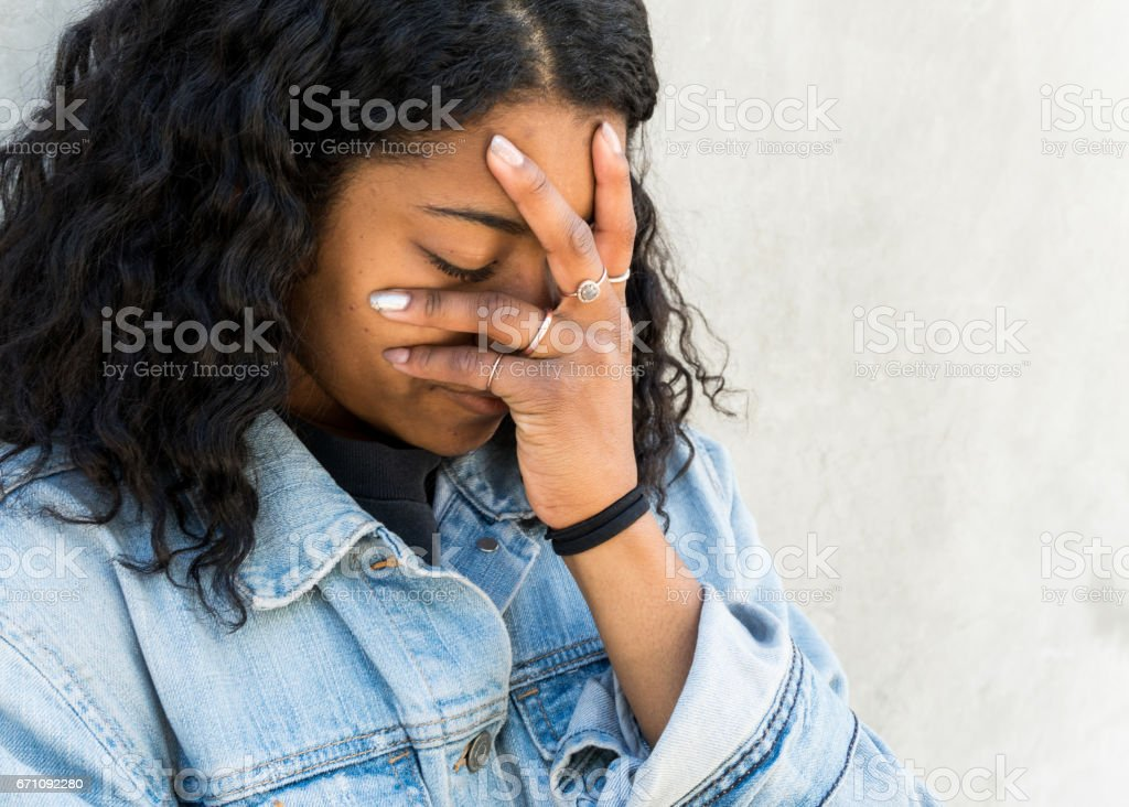 Depressed Teen Crying stock photo