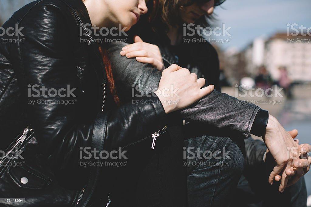 Depressed teenage couple stock photo