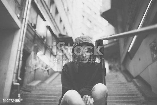 Depressed teenager outside
