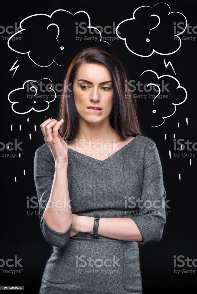 Depressed thoughtful woman stock photo