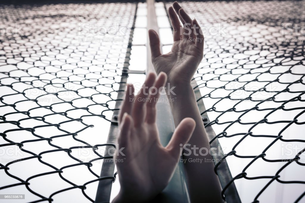 Depressed, trouble, help and chance. Hopeless women raise hand over chain-link fence ask for help zbiór zdjęć royalty-free