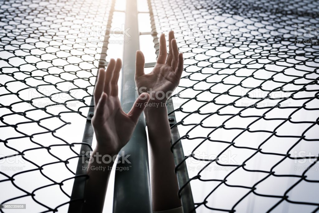 Depressed, trouble, help and chance. Hopeless women raise hand over chain-link fence ask for help royalty-free stock photo