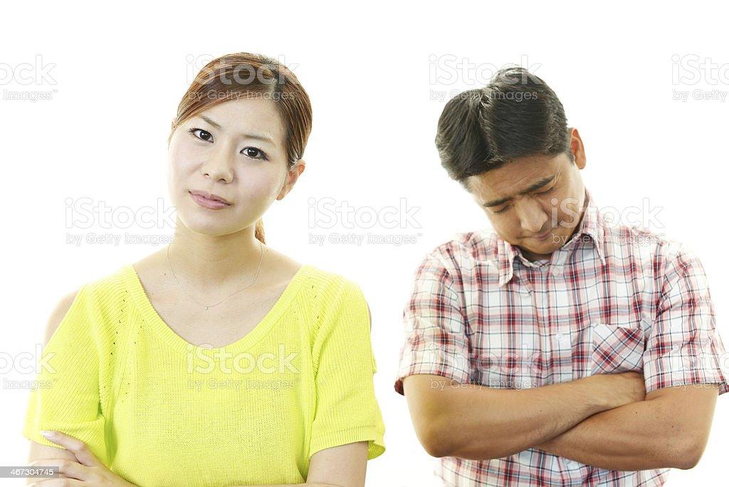 押すの女性と男性 ストックフォト