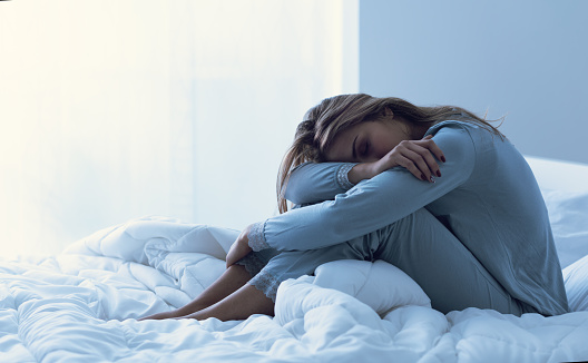 Depressed Woman Awake In The Night Stock Photo - Download Image Now